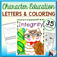 character education letter and coloring sheets
