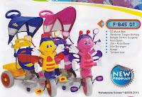 Sepeda Roda Tiga Family F845DT Lebah Sandaran Tangan Seri Bintang dan Rangka Sistem Suspensi