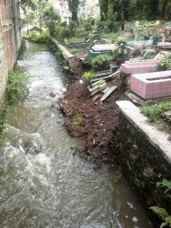 Banjir juga mengakibatkan longsor di TPU Cieunteung