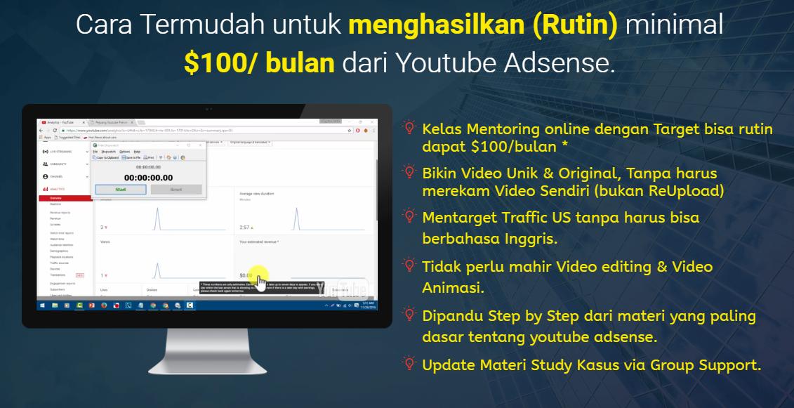 Cara Termudah untuk menghasilkan (Rutin) minimal $100/ bulan dari Youtube Adsense