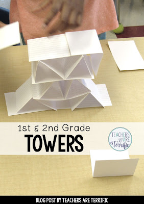 STEM Challenge for first graders! First, we read a fabulous picture book about skyscrapers and then we tried building a tower! Easy activity!
