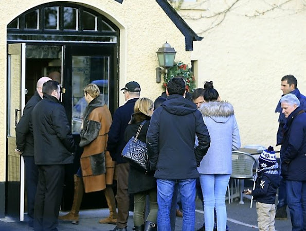 Princess Charlene visited Drogheda Monasterboice Inn in Dublin, Ireland. Princess Charlene wore fur coat, diamond pearl earrings wore leather long boots