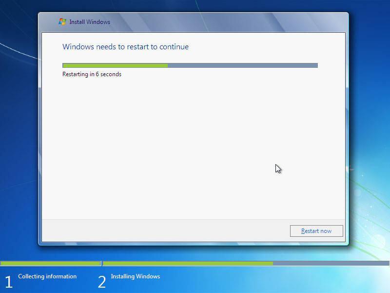 cara install windows 7 dengan flashdisk restart otomatis