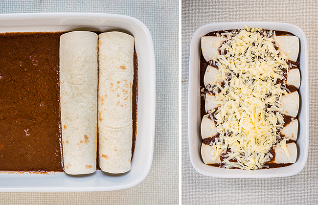 Slow Cooker Mole Pulled Pork Enchiladas – an easy and delicious family meal.