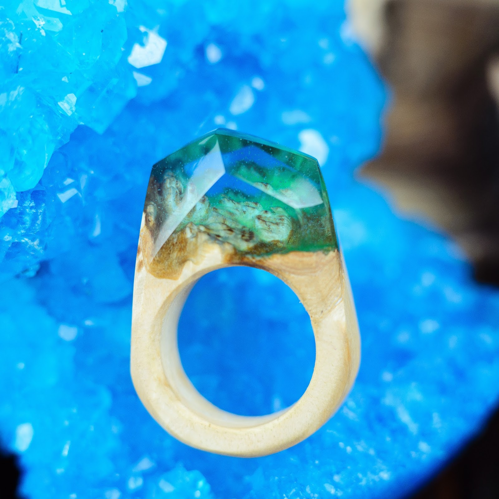 Wood Resin Ring Wooden Resin Ring Handmade Nature Jewelry