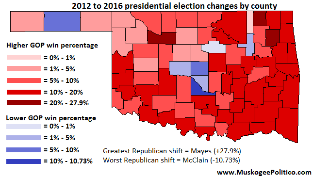 Maps 2012 and 2016 Oklahoma presidential results compared OKG News