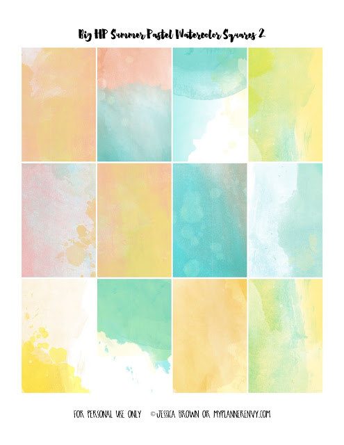 Free Printable Summer Pastel Watercolor Weekly Squares Page 2 for the Big Happy Planner on myplannerenvy.com