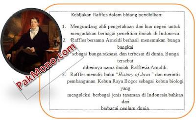 Kebijakan thomas stamford raffles di indonesia dalam bidang pendidikan, ekonomi, dan pemerintahan