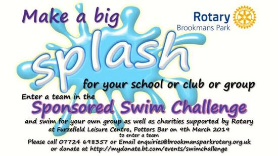 Flyer for Rotary Brookmans Park Sponsored Swim Challenge