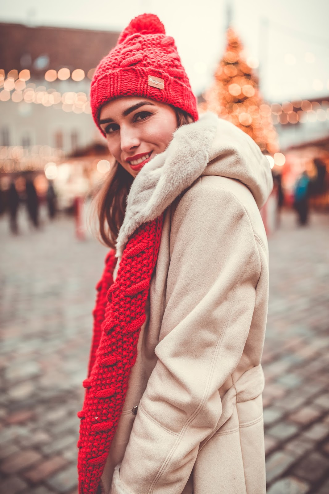 red knitted beanie outfit winter