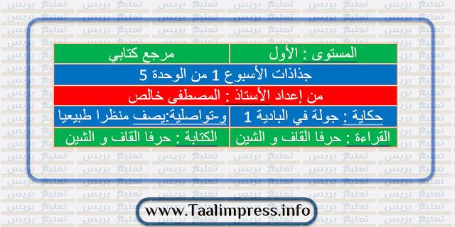 جذاذات الأسبوع الأول من الوحدة الخامسة كتابي في اللغة العربية للمستوى الأول ابتدائي