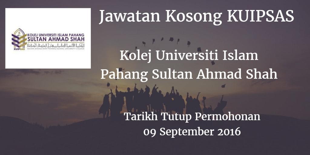 Jawatan Kosong KUIPSAS 09 September 2016
