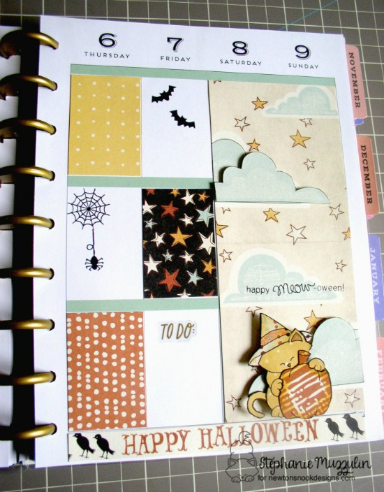 Halloween Planner Spread by Stephanie Muzzulin | Newton's Perfect Pumpkin Stamp set by Newton's Nook Designs #newtonsnook