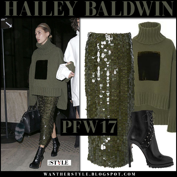 Hailey Baldwin in green turtleneck, green sequin skirt and sally lapointe black boots what she wore paris fashion week models
