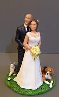 sposini torta matrimonio personalizzati realistici cane e gatto orme magiche