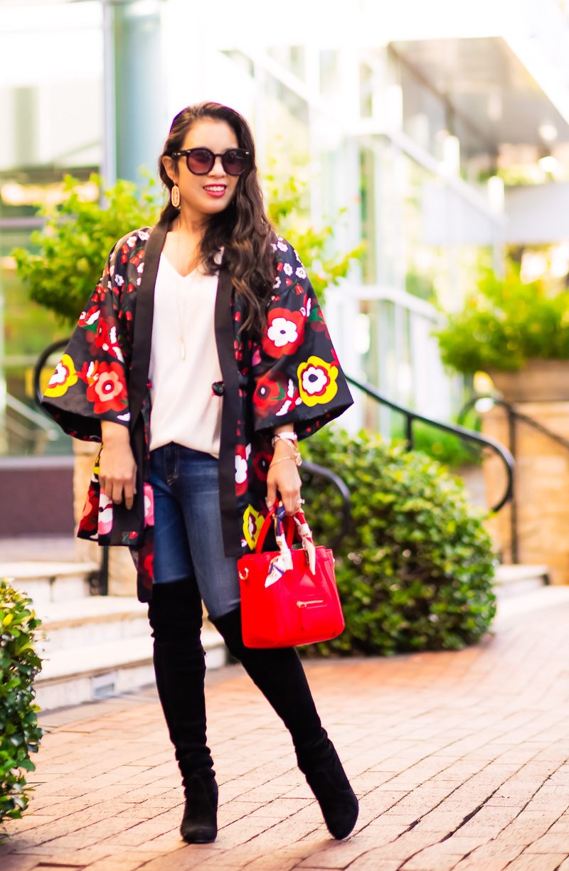 kimono worn with over the knee boots