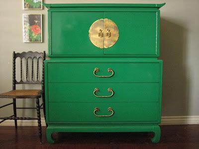 Hollywood Regency Emerald Green Chest