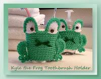 http://www.crochetmemories.com/blog/kyle-the-frog-toothbrush-holder/