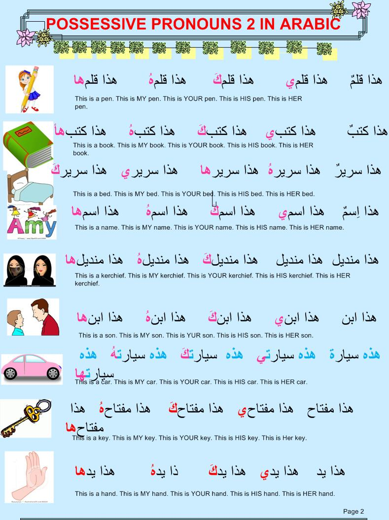 learn different languages with tips possessive pronouns in arabic. Black Bedroom Furniture Sets. Home Design Ideas
