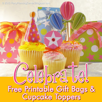 printable birthday party gift bags and cake toppers