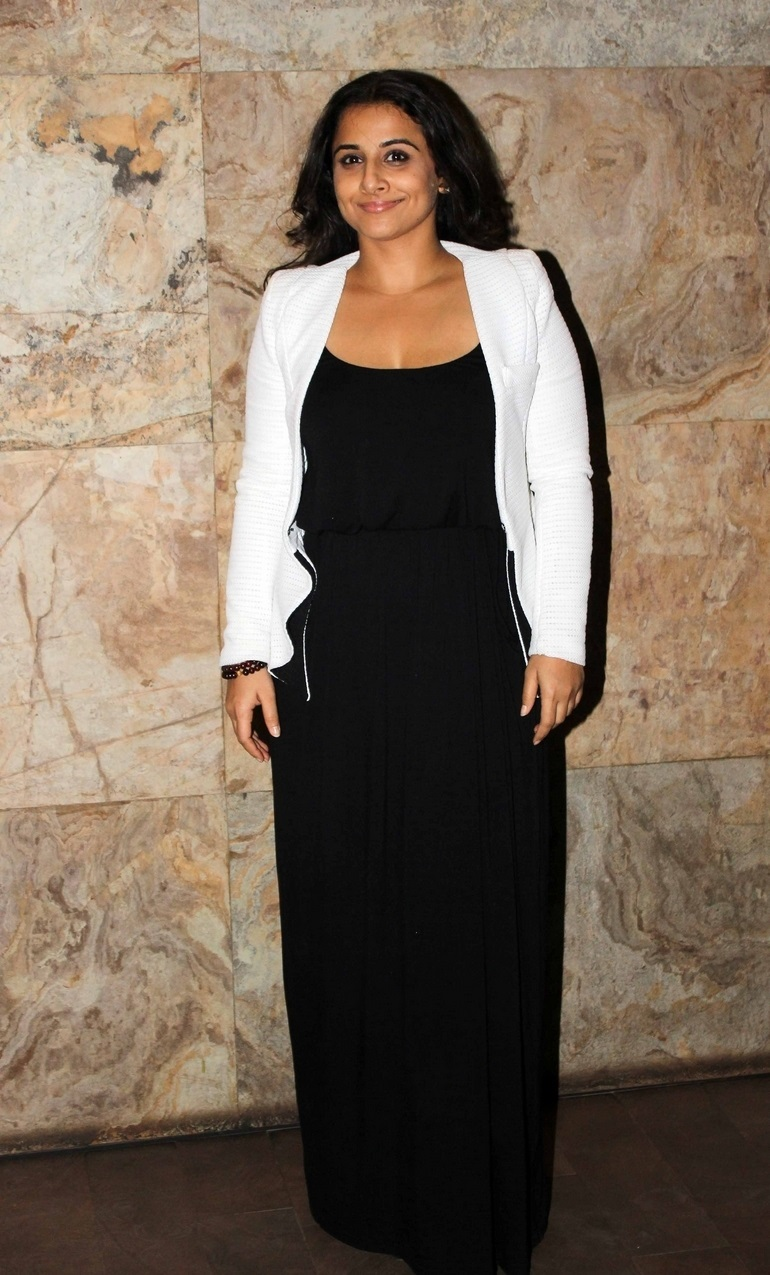 Film Actress Vidya Balan In Black Gown White Top