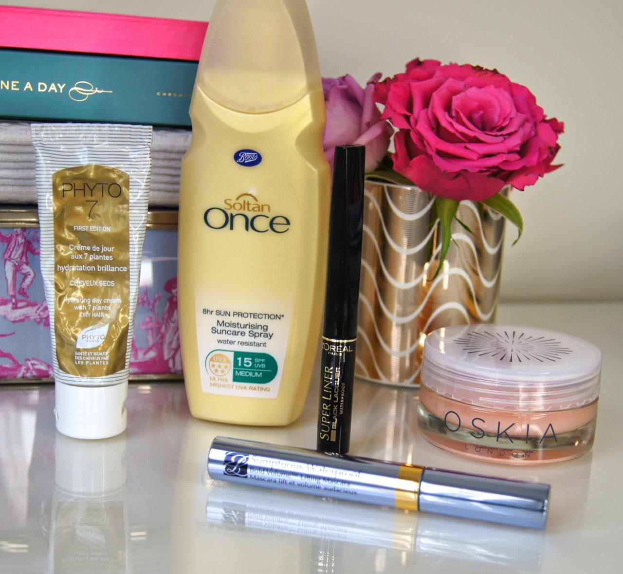 current beauty favourites SPF brightening face mask waterproof mascara liquid eyeliner hydrating hair cream