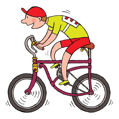 kids cartoon illustration of boy riding a bicycle