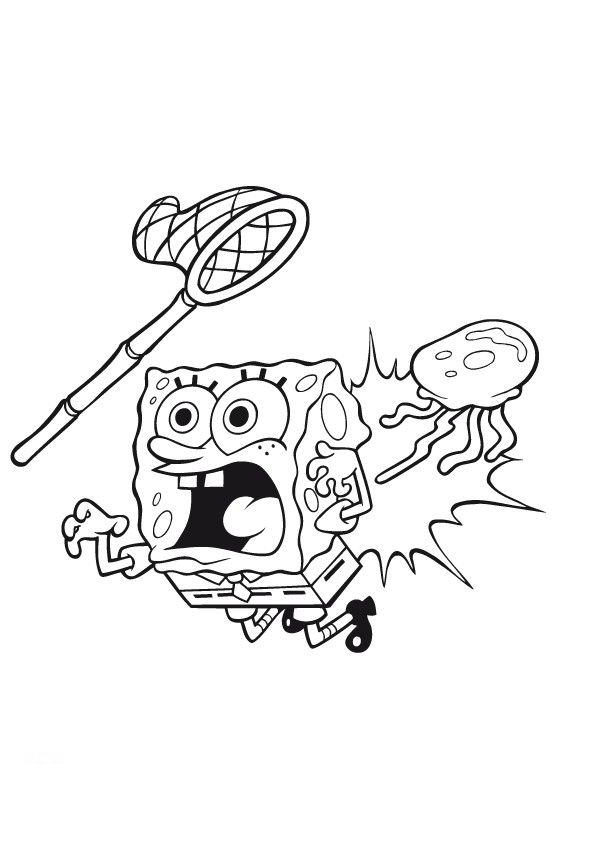 Spongebob Jellyfish Coloring Pages For Colored Kids