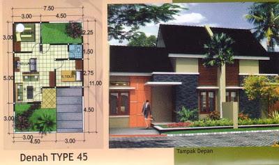 Gambar Desain Dan Denah Rumah Type 45