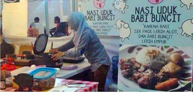 Foto Perempuan Berjilbab Jualan Nasi Babi jadi Viral