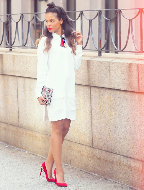 Rocio rodriguez fashion maracas nyfw15 day 3 outfit, white with red shoes, half bun hairdo