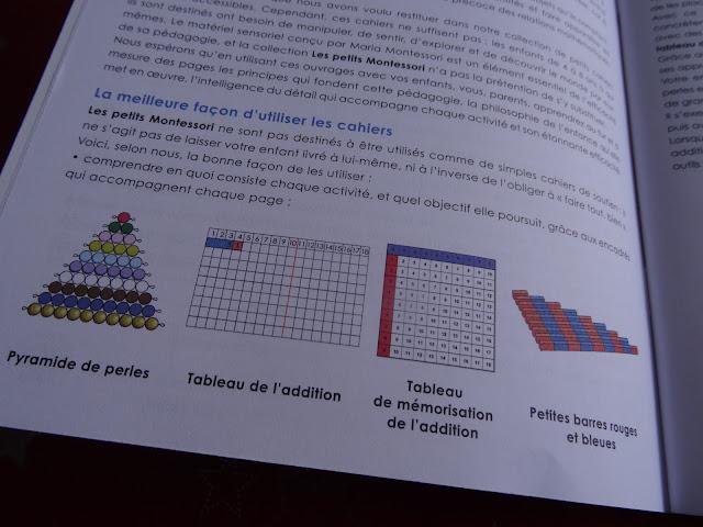 Matériel montessori : Pyramide de perles, Tableaux des additions et Petites barres rouges et bleues