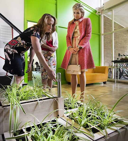 Queen Maxima wore Natan dress, Queen Maxima wore Natan Pumps and carried CHANEL shoulder bag at Wageningen University