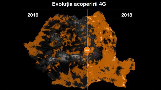 Atât de mult a evoluat acoperirea 4G de la Orange din 2016 până în 2018. Este foarte aproape de 100%
