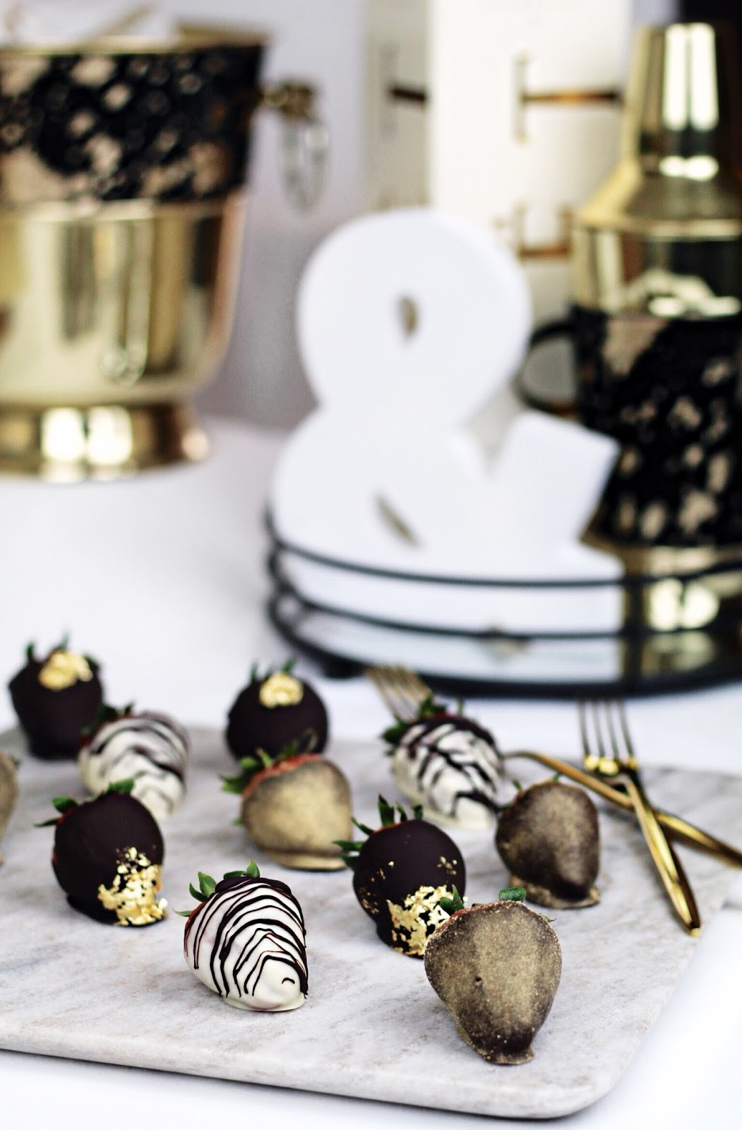 Luxurious Chocolate Strawberries in Gold Leaf