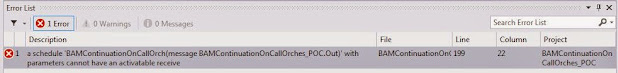 A schedule 'OrchestrationName' with parameters cannot have an activatable receive