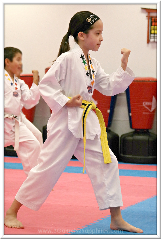 Taekwondo belt test in dobok and Logo Loops headband #loveourloops (sponsored)  |  www.3Garnets2Sapphires.com