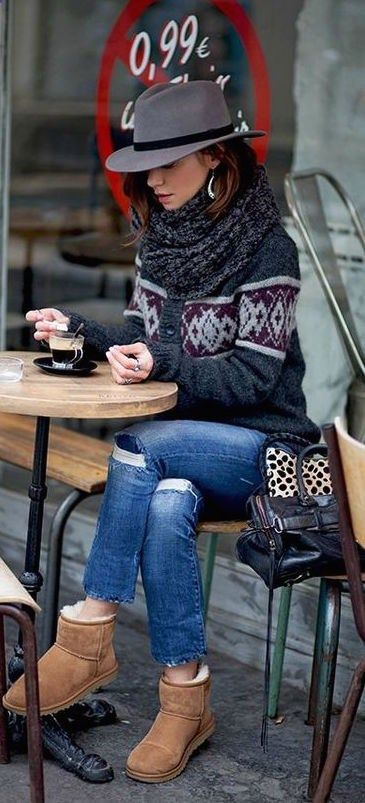 how to style a black hat : printed sweater + ripped jeans + beige boots