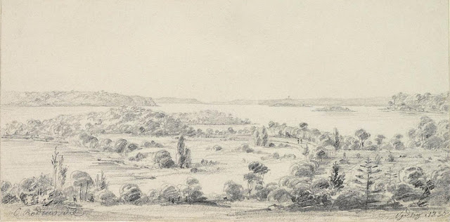 Drawing of the Domain and Mrs Macquarie's Point, Sydney, Australia1830