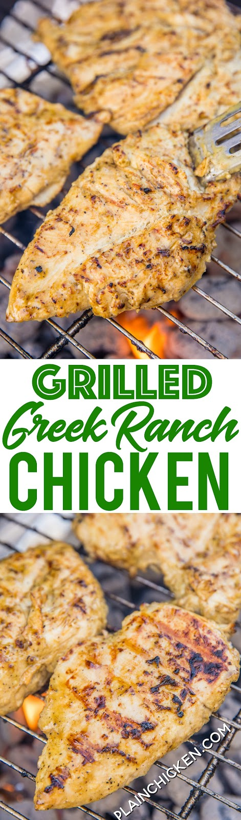 Grilled Greek Ranch Chicken - chicken marinated in Ranch dressing, olive oil, lemon juice, worcestershire sauce and Greek seasoning - grill up for THE BEST chicken you'll ever eat! We make this at least once a week. Double up the recipe for leftovers! It is to-die-for delicious!! #grilling #chicken #grilledchicken #chickenrecipe