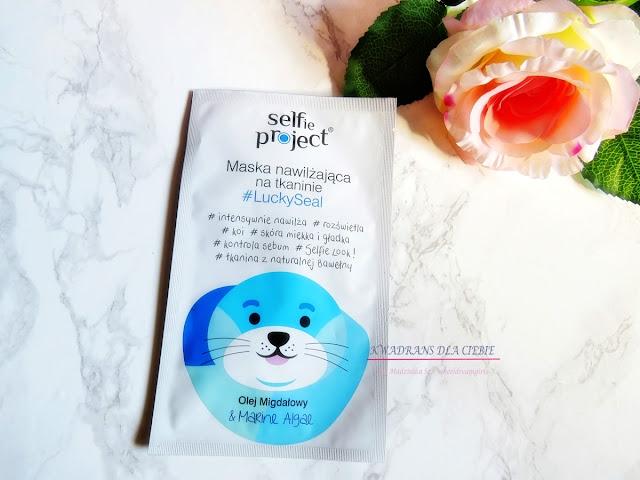 Selfie Project #LuckySeal nawilżająca maska na tkaninie, Selfie Projekt maska nawilżająca, maska w płachcie, nawilżenie skóry,