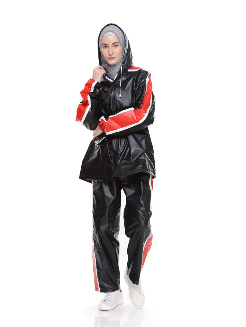 Jas Hujan Mantel Raincoat Setelan Trendy - Hitam Strip Merah