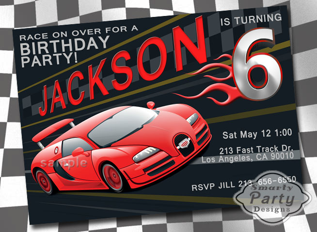 Red Black Flames Race Car Boy Birthday Party Invite Invitation