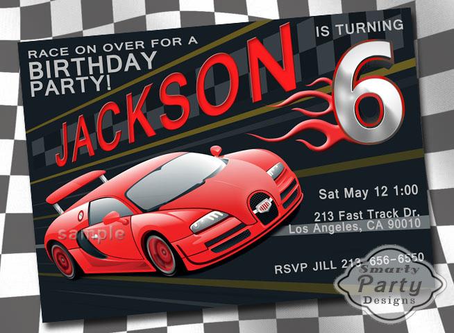 Red Black Flames Race Car Boy Birthday Party Invite Invitation