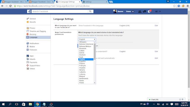 Facebook Language Settings set it here