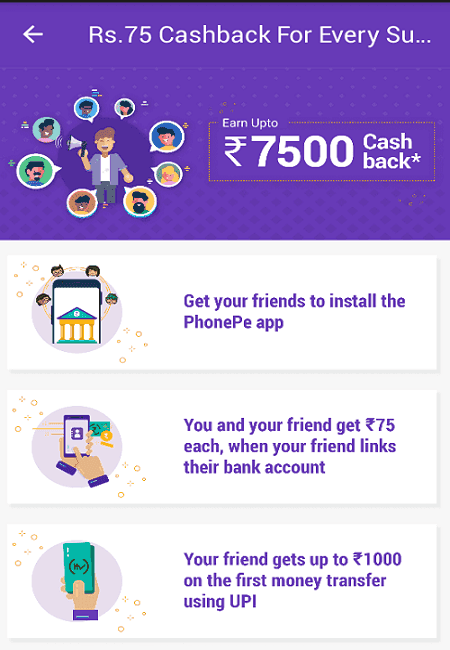 phonepe 75 rupee per refer