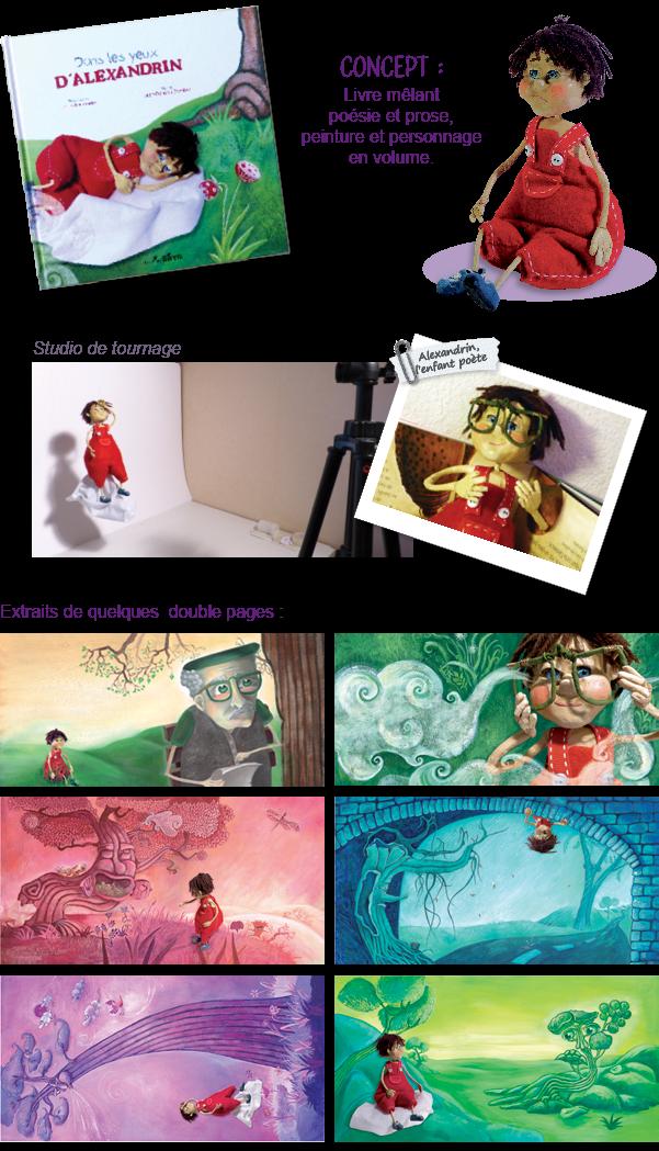 Projet de fin d'année de diplôme de master 2 IUP arts appliqués option graphisme. Livre jeunesse, illustration jeunesse en montage peintures et photos de la marionnette en papier mâché. Texte écrit par M. Jean-François Dambre, illustrations et graphisme Laura Dambre (Fernandes).