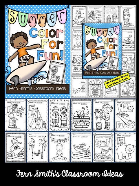 Fern Smith's Classroom Ideas Color for Fun, Second Semester Bundle for Fall Fun! Color For Fun Printable Coloring Pages