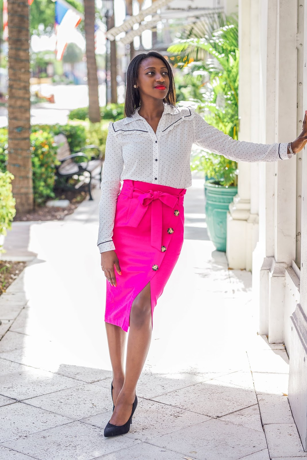 Western Polka Dot Shirt & Pink Pencil Skirt