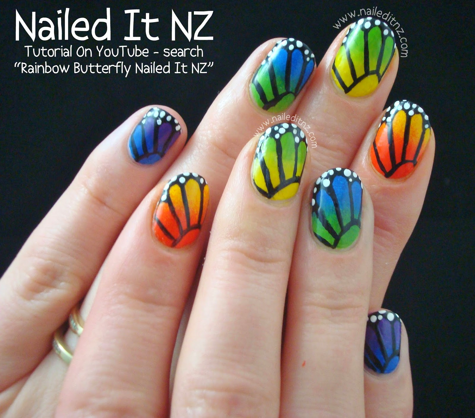 Butterfly Nail Art: Rainbow Butterfly Nail Art